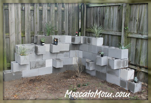 Diy cinder block garden phase 1 moscato mom Garden wall color ideas