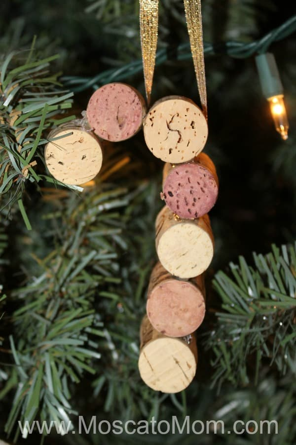 wine cork candy cane ornament