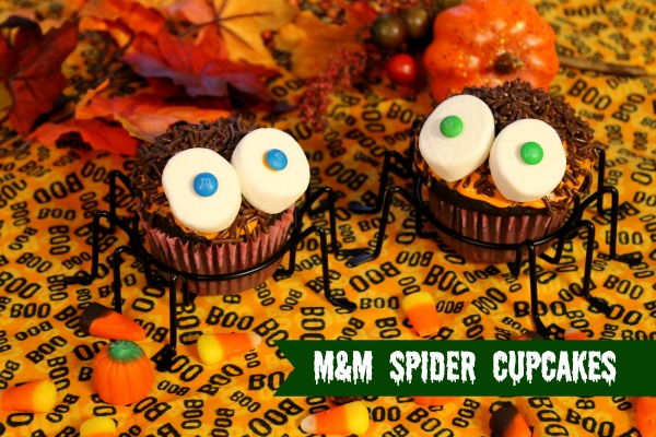 M&M Spider Cupcakes