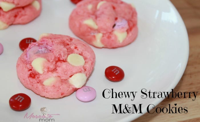 Chewy Strawberry M&M Valentine's Cake Cookies