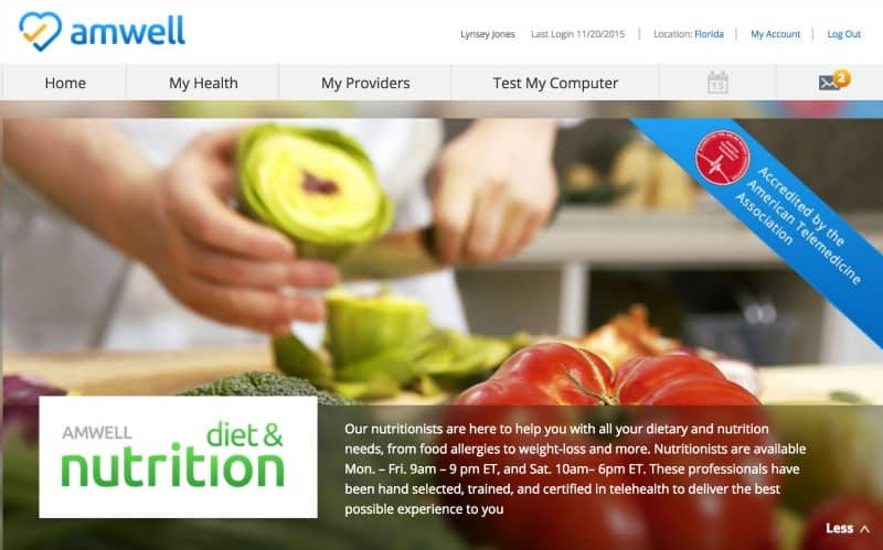 amwell dieticians