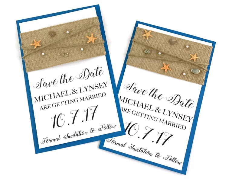 DIY Beach Theme Save The Date Cards