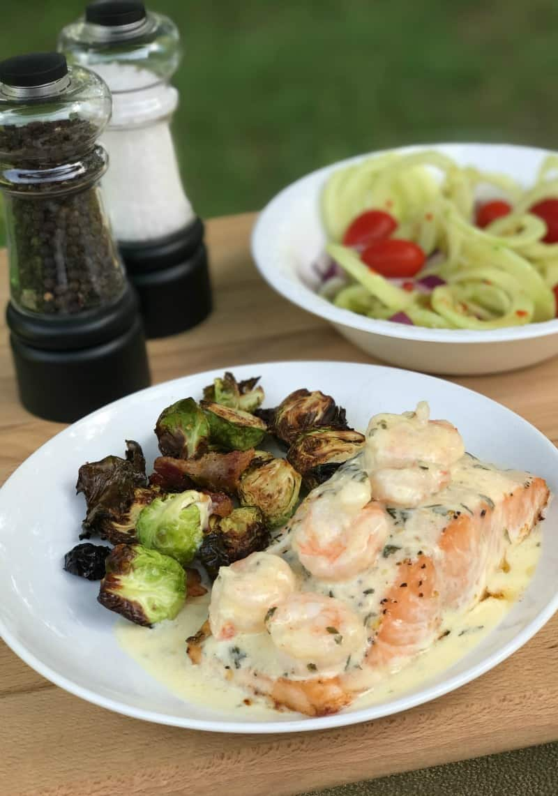 Baked Salmon With Lemon Parmesan Shrimp