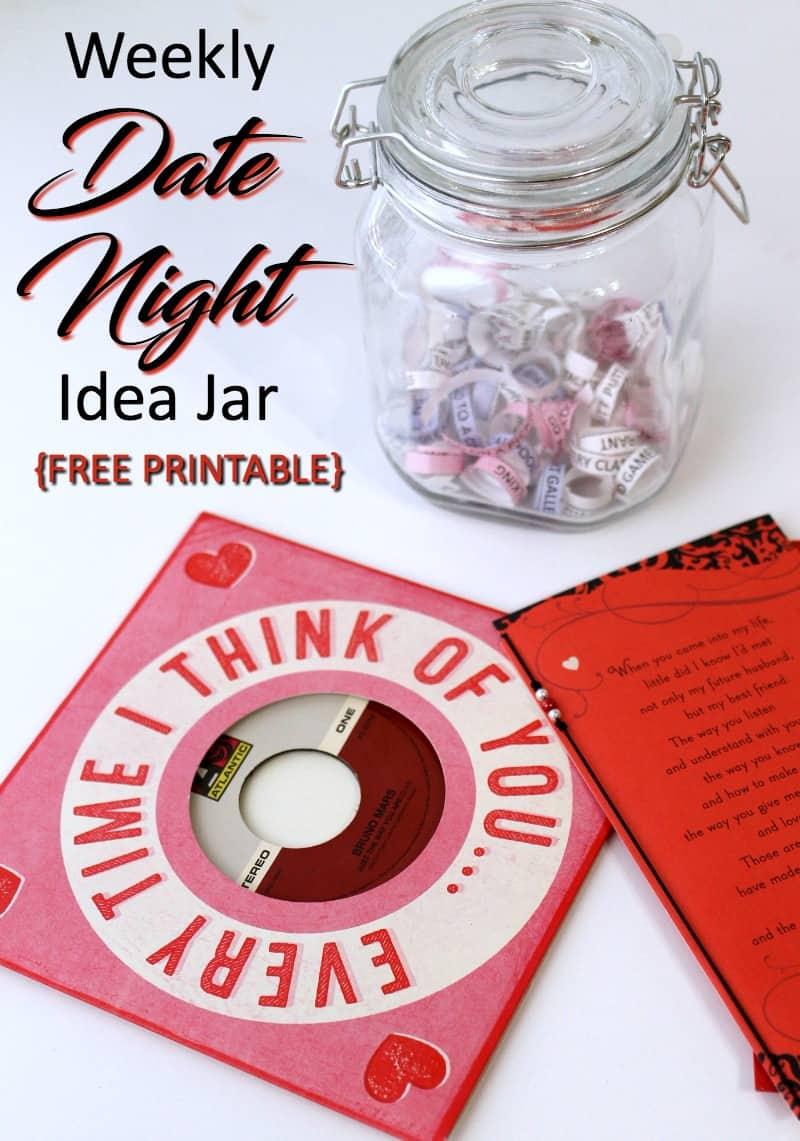 date night ideas jar with printable