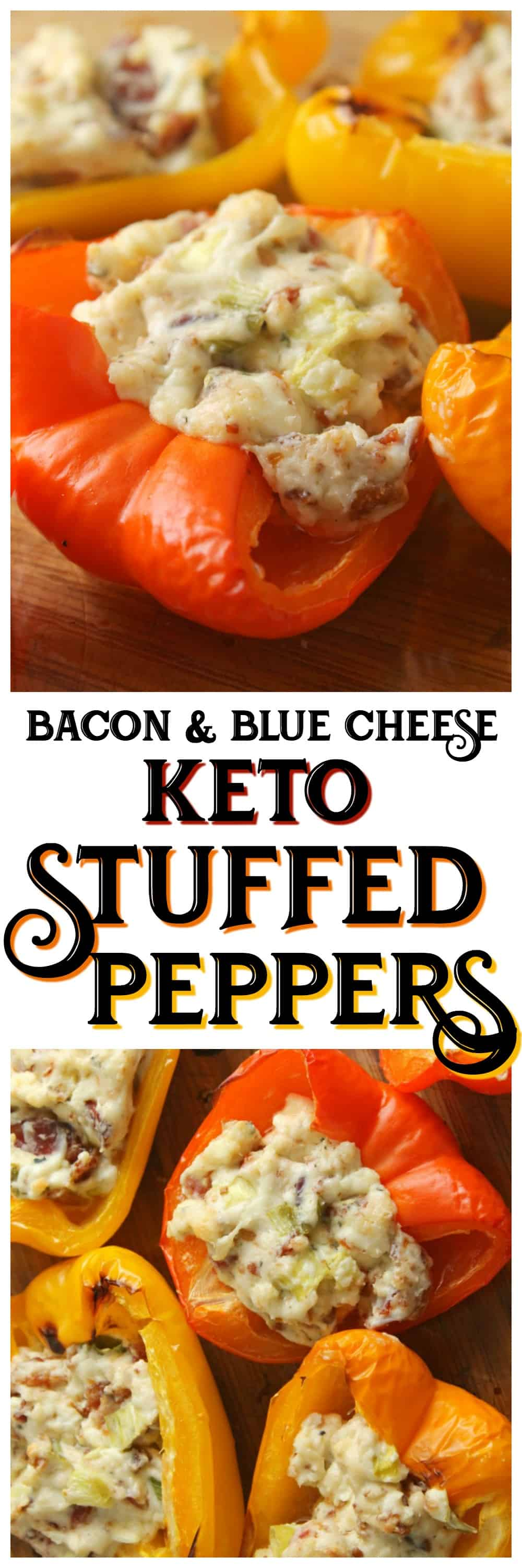 These delicious Bacon & Blue Cheese Stuffed Peppers are the perfect low carb veggies for your next party! #keto