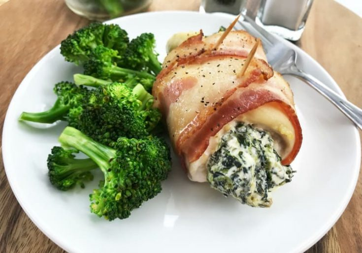 Bacon Wrapped Spinach Stuffed Chicken Breasts