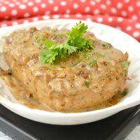 Thick Cut Pork Chops in Parmesan Basil Cream Sauce