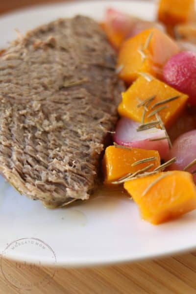 One Pan Roast Beef with Low Carb Vegetables.