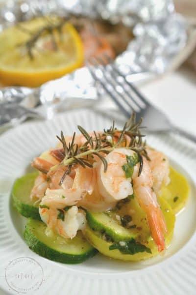 Keto Shrimp Scampi Foil Pack Dinner