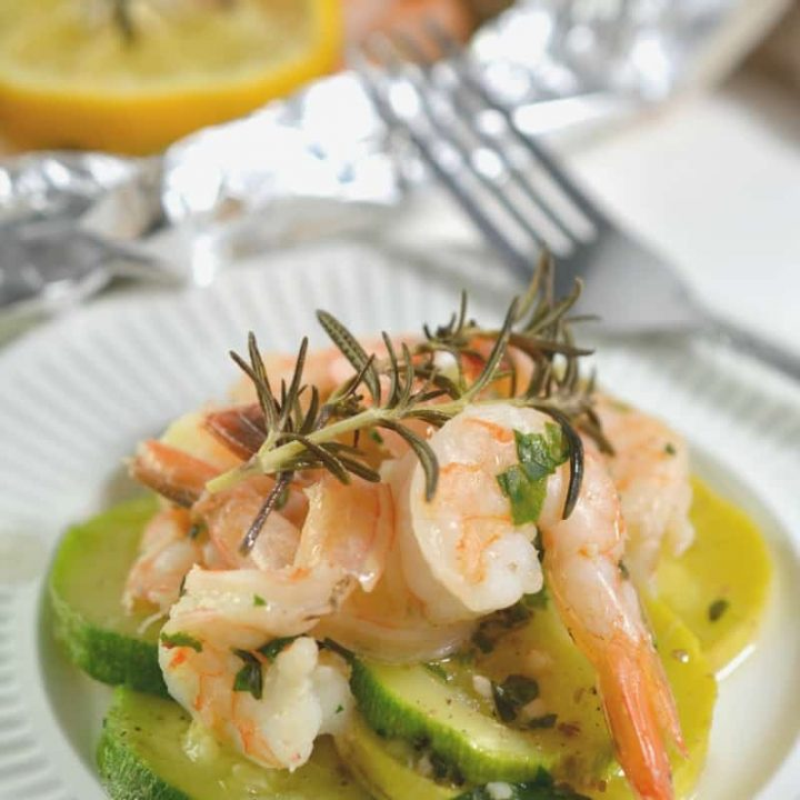 Keto Shrimp Scampi Foil Packet