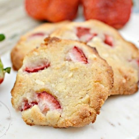 Keto Macadamia Nut Cookies with Fresh Strawberries