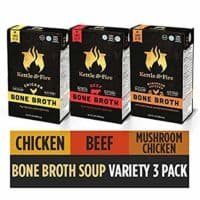 Bone Broth Soup, Mushroom Chicken, Beef, and Chicken Variety Pack by Kettle and Fire, Keto Diet, Paleo Friendly, Whole 30 Approved, Gluten Free, with Collagen, Protein, 16.2 fl oz (Pack of 3)