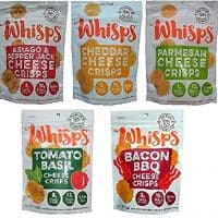 Whisps Cheese Crisps 100% Cheese Low Carb Crunchy Snack Assortment (5 Pack)