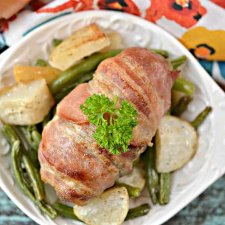 Keto Bacon Wrapped Mini Meatloaf Sheet Pan Meal