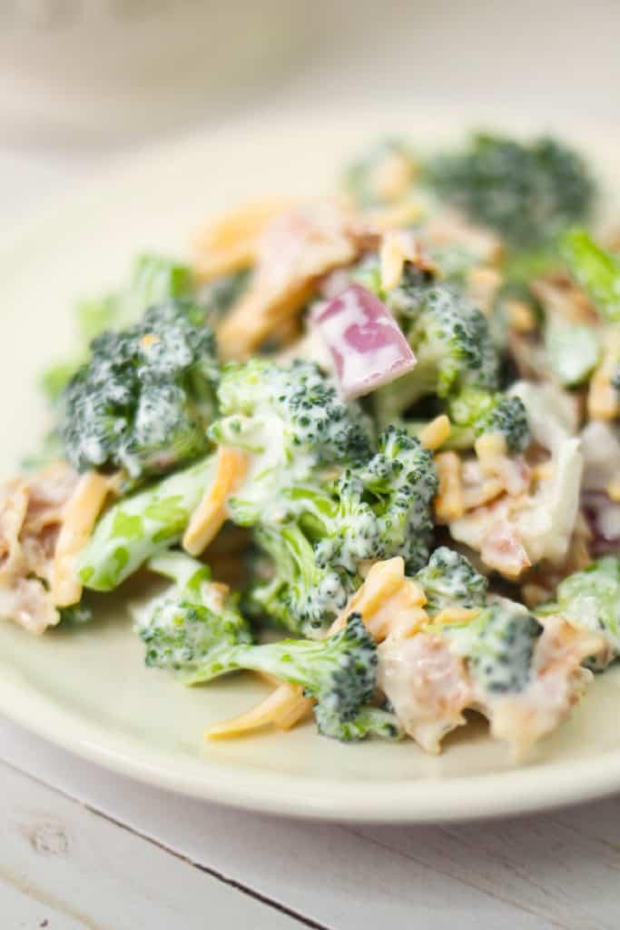 close up keto broccoli salad