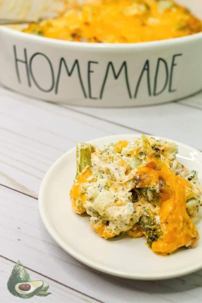 close up keto broccoli casserole on white plate