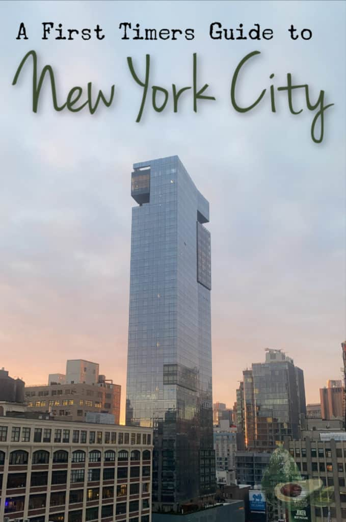 new york city hotel at sunrise with text first time in new york