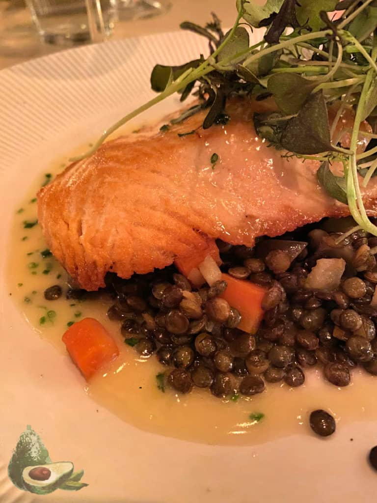 salmon and lentils dinner from tavern on the green