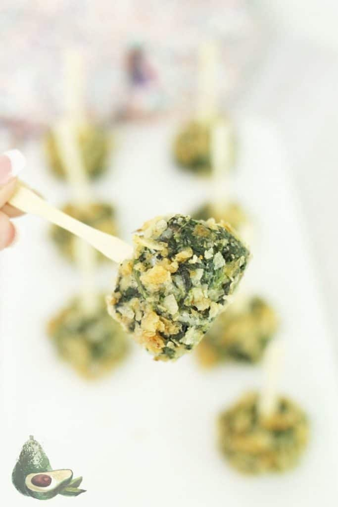 close up spinach ball appetizer