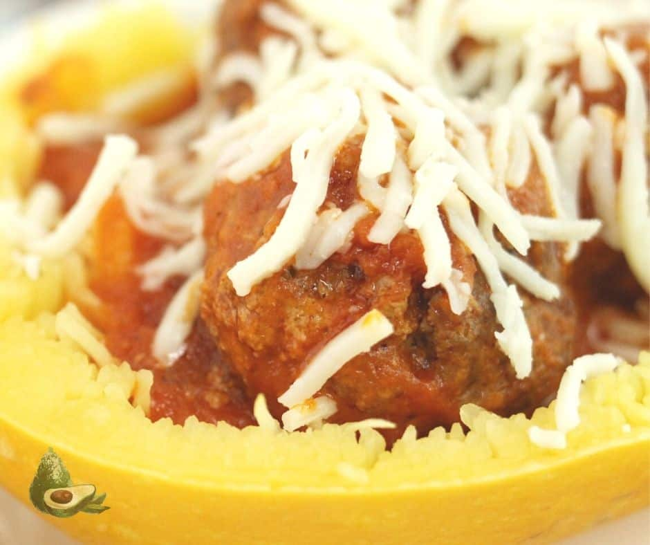close up of meatballs in spaghetti squash