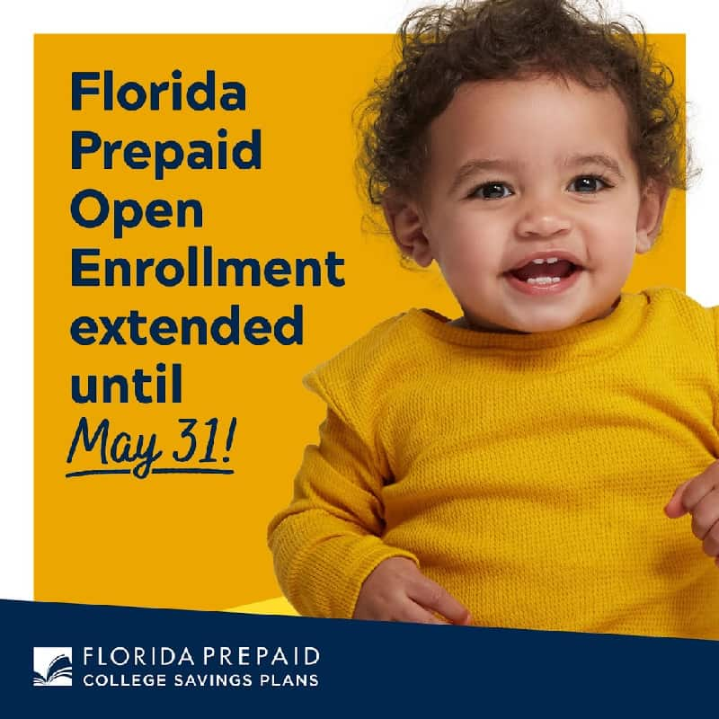 baby in yellow sweater with text Florida Prepaid Open Enrollment extended until May 31st