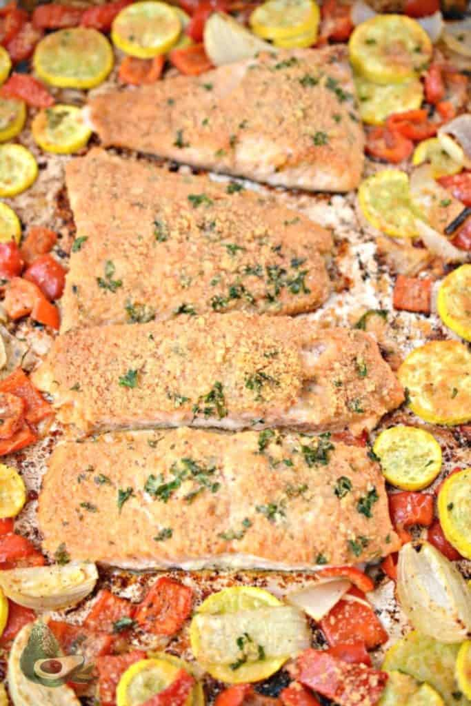 cooked parmesan crusted salmon with vegetables