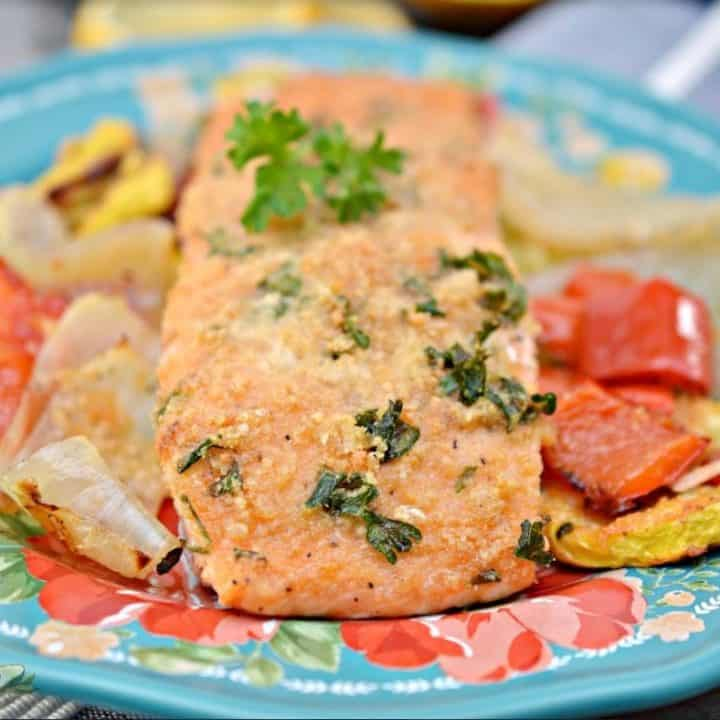 Parmesan Crusted Salmon Sheet Pan Meal