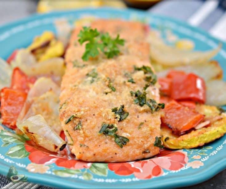 Parmesan Crusted Salmon Sheet Pan Meal