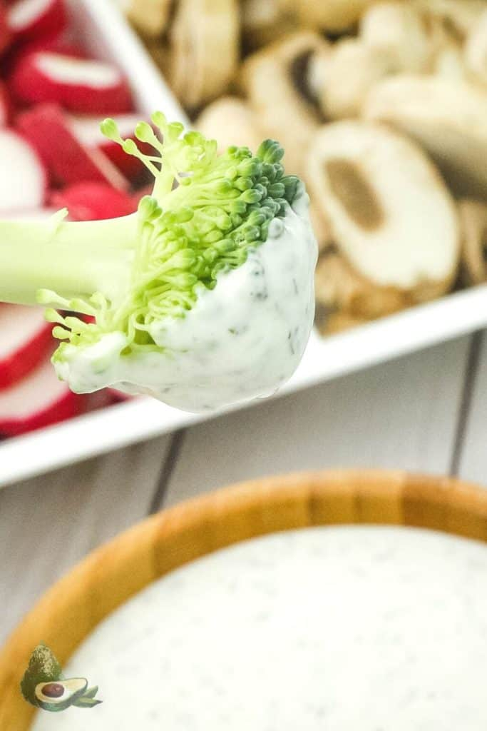 keto ranch dressing on broccoli close up