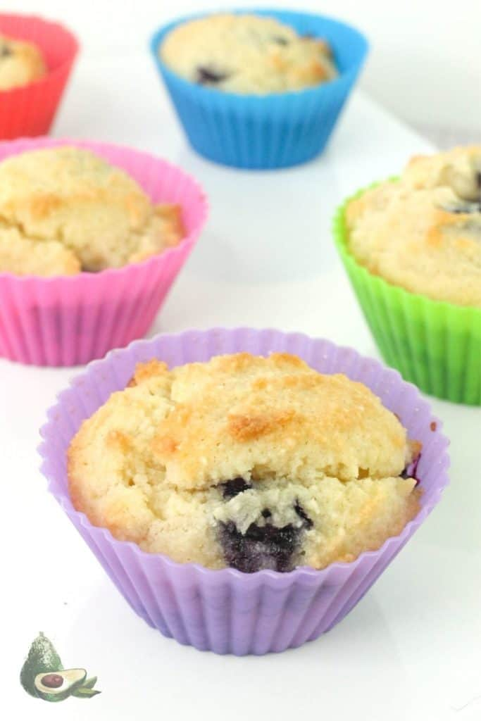 keto blueberry muffins in rainbow liners