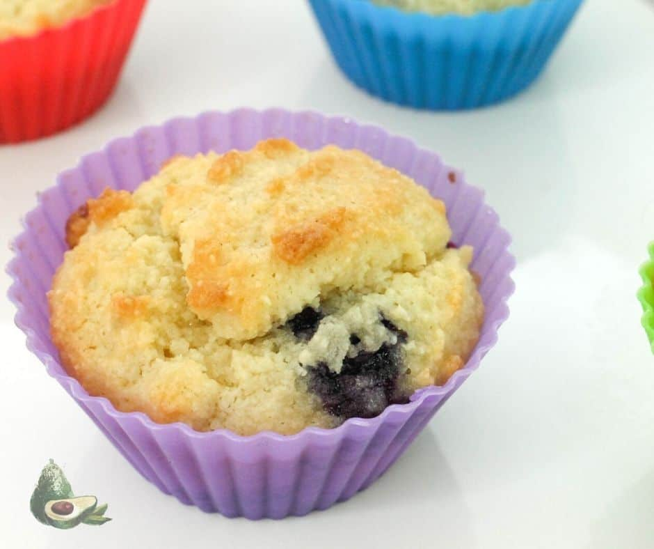 keto blueberry muffin in purple liner