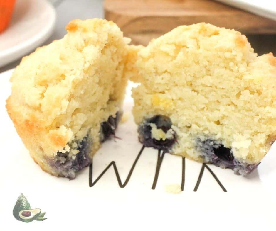 close up cut blueberry muffin