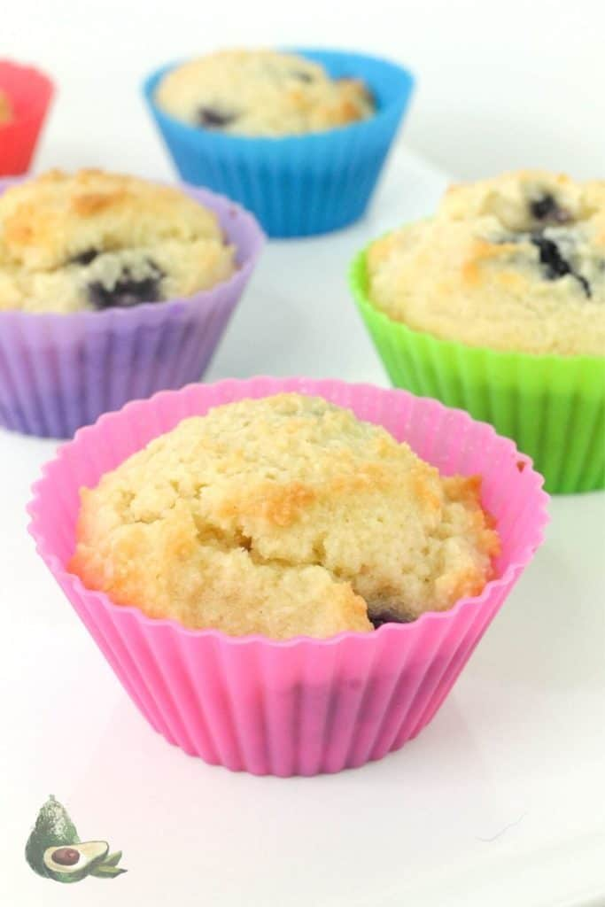 close up keto blueberry muffins