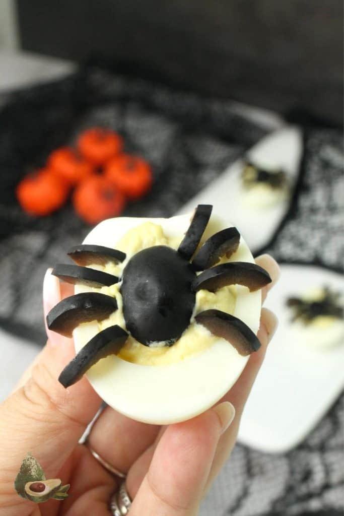 close up spider deviled egg