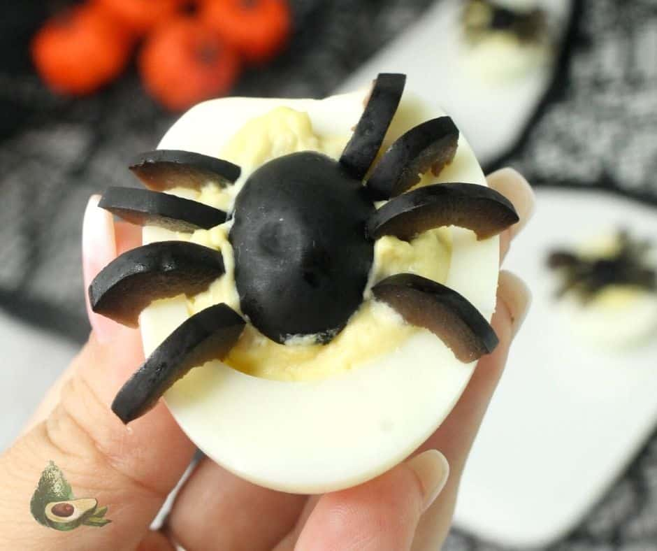 close up spider deviled eggs