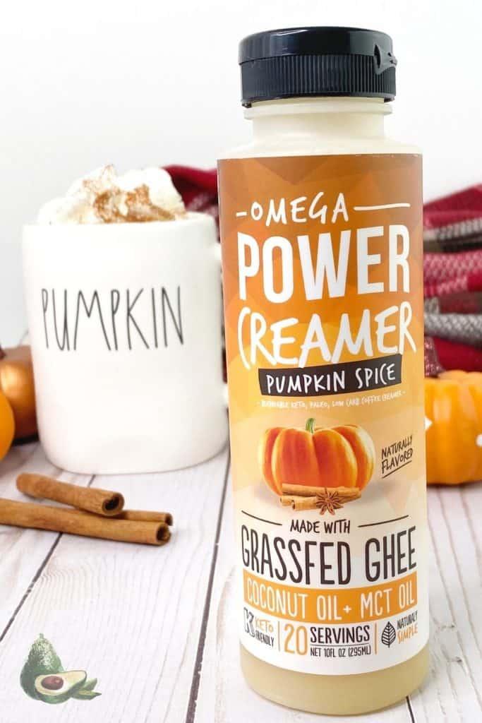 keto pumpkin spice latte creamer with fall decorations