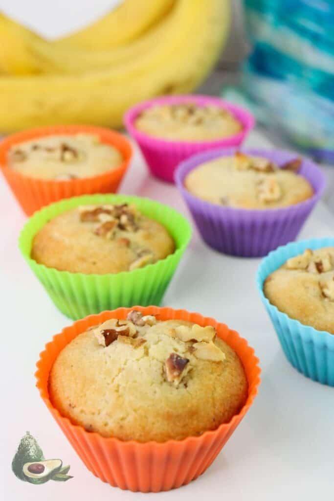 plate of keto banana muffins