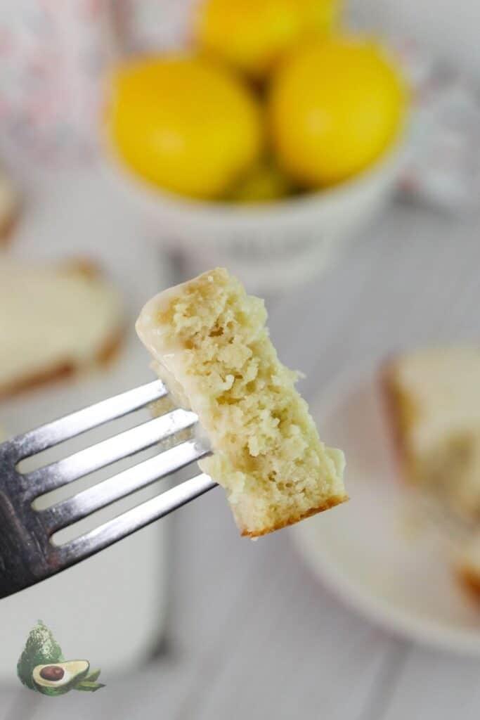 slice of lemon bread on fork