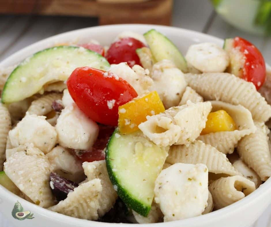 keto pasta salad with vegetables in white bowl